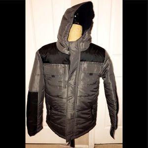 Hooded Puffer Jacket Sz L (14/16) Grey/Black NWT